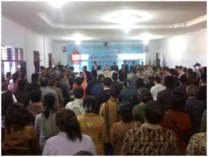 Suasana Pelantikan Bupati dan Wakil Bupati Nias Barat di Gedung Serbaguna Onolimbu